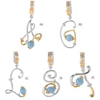 Michael Valitutti Palladium Silver Aquamarine Bead Script Initial Drop Charm