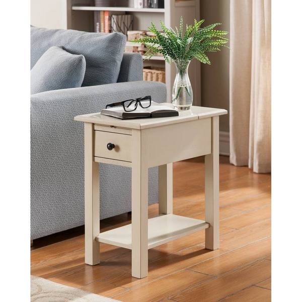 Clay Alder Home Van Metre Antique White Wood Side Table With Charging Station