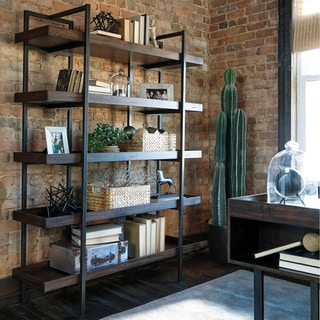 Starmore Brown Wood and Black Metal Bookcase