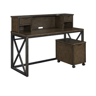 Xcel Office Desk with Hutch & Mobile File by Home Styles