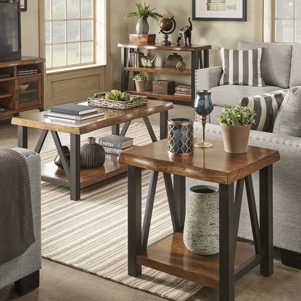 Banyan Live Edge Wood And Metal Accent Tables By Inspire Q