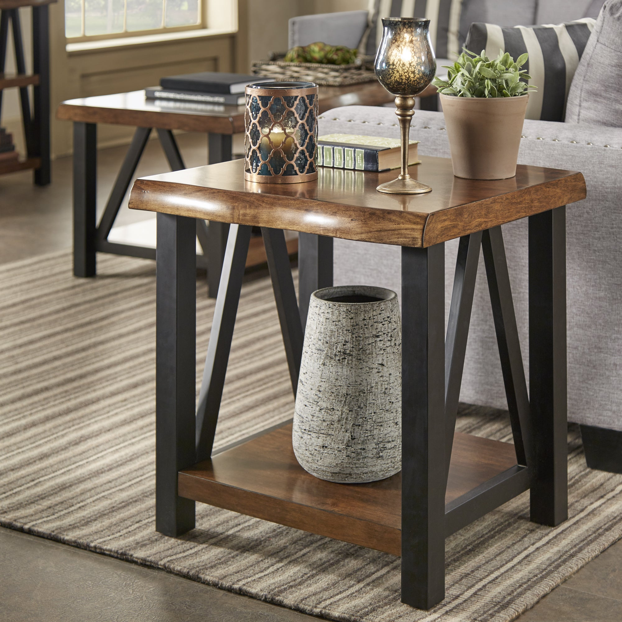 product artisan accent banyan by tables inspire edge q wood table metal garden home live and