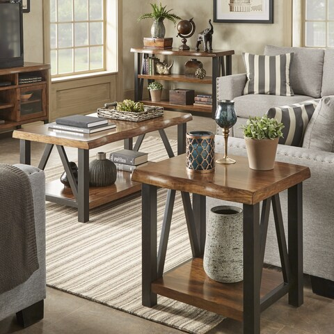 Banyan Live Edge Wood and Metal Accent Tables by iNSPIRE Q Artisan
