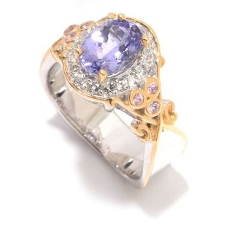 Michael Valitutti Palladium Silver Tanzanite, Pink Sapphire & White Topaz Halo Ring