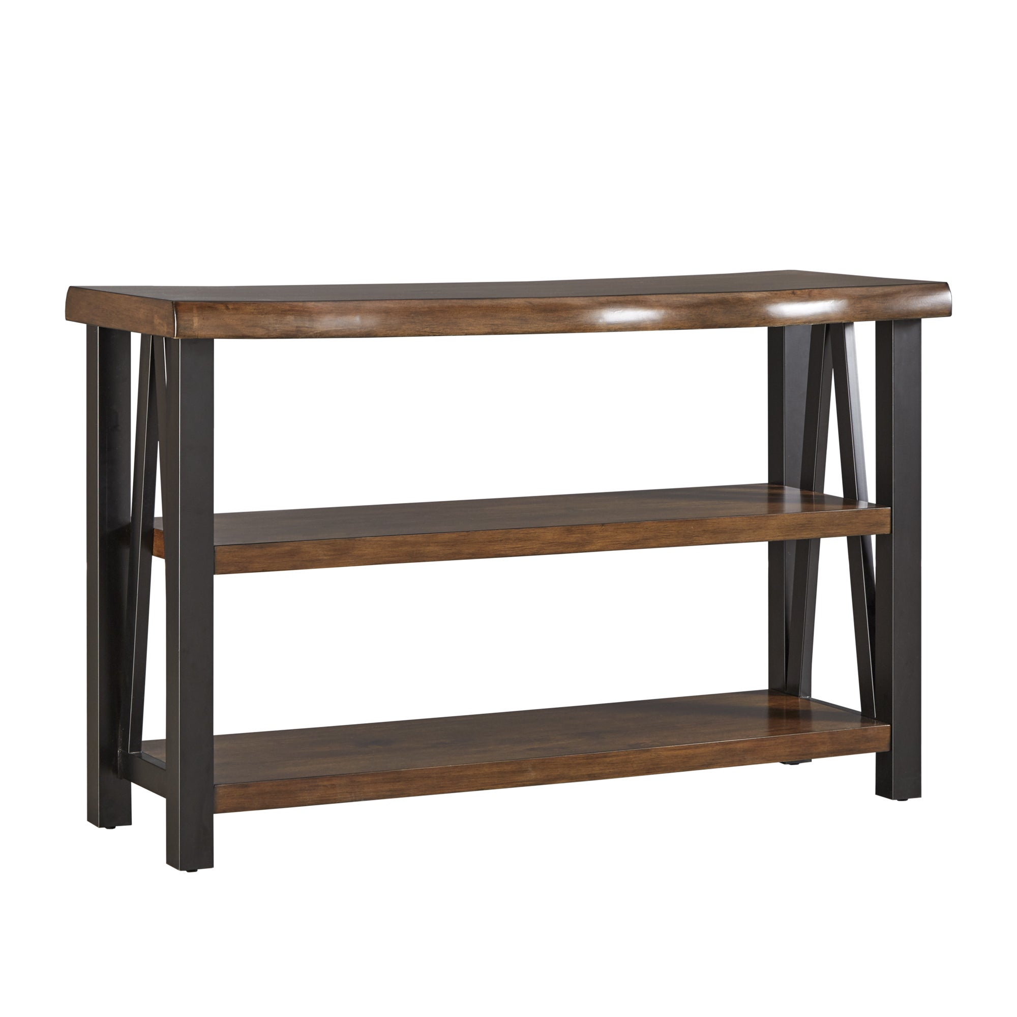 Banyan Live Edge Wood And Metal Console Sofa Table Bookshelf By Inspire Q