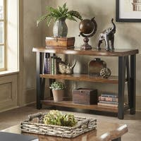 Banyan Live Edge Wood and Metal Console Sofa Table Bookshelf by iNSPIRE Q Artisan