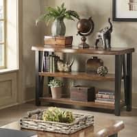 Banyan Live Edge Wood and Metal Console Sofa Table Bookshelf by iNSPIRE Q Artisan