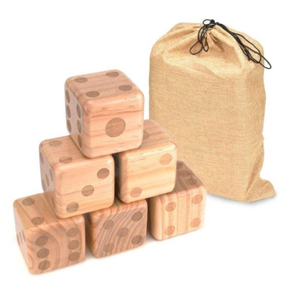 Trademark Innovations Wood 3.5-inch Giant Yard Dice With Carry Bag
