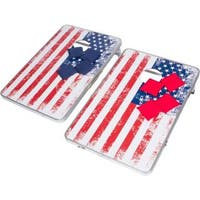 Trademark Innovations American Flag Design Aluminum Portable 3-foot Corn Hole and Bean Bag Toss Set