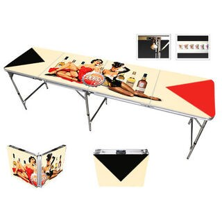 Red Cup Pong 8-foot Pin Up Girls Design Beer Pong Table with Bottle Opener, Ball Rack, and 6 Pong Balls