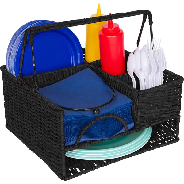 Trademark Innovations Black Rattan Tabletop Serveware And Condiment  Organizer And Caddy