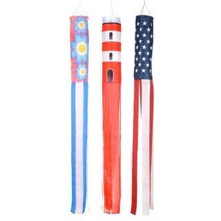 Trademark Innovations Polyester 60-inch Flowers, Lighthouse, and U.S. Flag Summer Season Windsocks (Pack of 3)