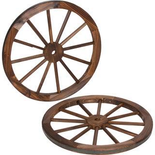 Trademark Innovations Fraser Fir and Steel Rim 24-inch Decorative Vintage Wagon Wheel