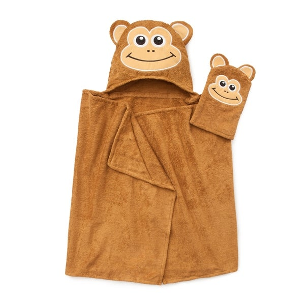 Tub Time for Tots 2-piece Monkey Hooded Bath Wrap Set
