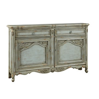Hand Painted Distressed Green/Grey Credenza