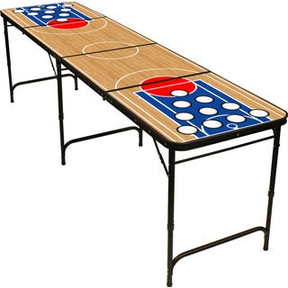 Red Cup Pong 8-foot Long Premium HD Basketball Design Beer Pong Table with Bottle Opener, Ball Rack, and 6 Pong Balls