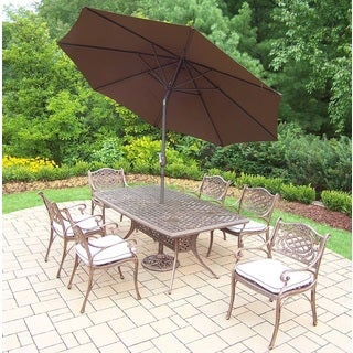 Merit Cast Aluminum 9-Piece Dining Set with Brown Umbrella and Metal Stand