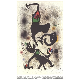 Joan Miro 'At Pace/Columbus' Multicolored Canvas 1979 Poster Artwork, 35.25 x 21.25 inches