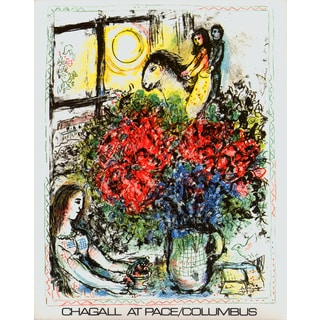 Marc Chagall 'La Chevauchee 1979' Multicolored Lithograph Artwork, 31 x 22 inches