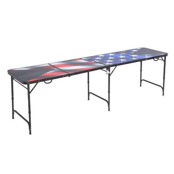Red Cup Pong Aluminum 8-foot Premium HD Design American Flag Beer Pong Table with Bottle Opener, Ball Rack, and 6 Pong Balls