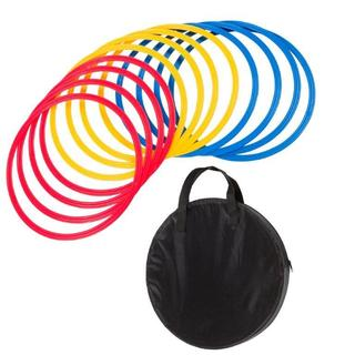 Trademark Innovations Multicolored Plastic 18-inch Diameter Speed and Agility Training Rings with Carrycase (Case of 12)