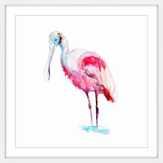 Marmont Hill - 'Pink Spoonbill' by Michelle Dujardin Framed Painting Print - Multi