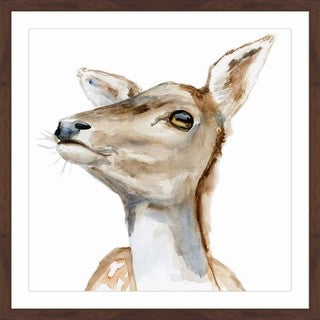 Marmont Hill - 'Deer Face' by Michelle Dujardin Framed Painting Print