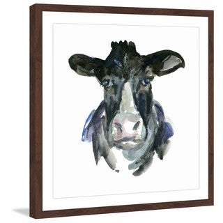 Marmont Hill - 'Cow Face' by Michelle Dujardin Framed Painting Print