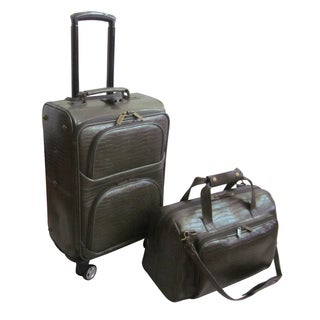 Amerileather Moss Green Leather Croco-Print 2-piece Carry On Spinner Luggage Set