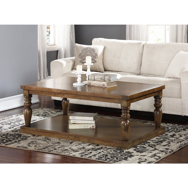 Abbyson Rustic Weathered Oak Cypress Wood Coffee Table