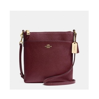 Coach Embossed Textured Burgundy Leather North/South Swingpack Crossbody Handbag