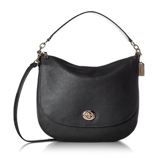 Coach Black Pebbled Leather Turnlock Hobo Handbag