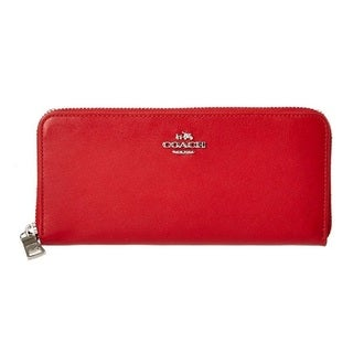 Coach Smooth Red Leather Slim Accordion Zip Wallet