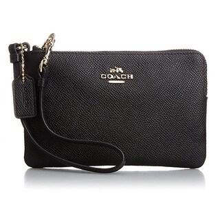 Coach Black Crossgrain Leather Corner Zip Wristlet