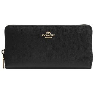 Coach Accordion Black Embossed Textured Leather Zip Around Wallet