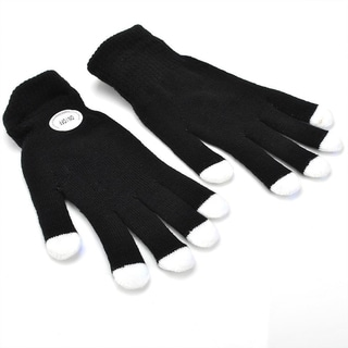 Black/White Acrylic LED Flashing Fingertip Party Gloves