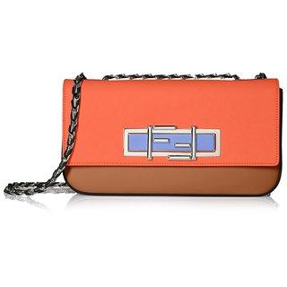 Fendi 3 Baguette Light Red Leather Crossbody Bag