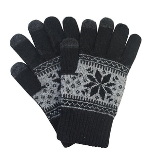Black Wool Blend Snowflake Pattern Warm Knitted Touchscreen Smartphone Gloves
