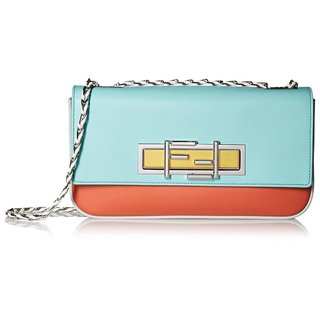 Fendi 3 Baguette Mint Green Leather Crossbody Bag