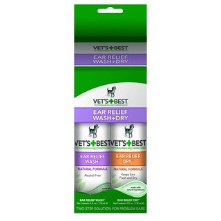 Vet's Best Dog Ear Relief Wash and Dry Combo Kit