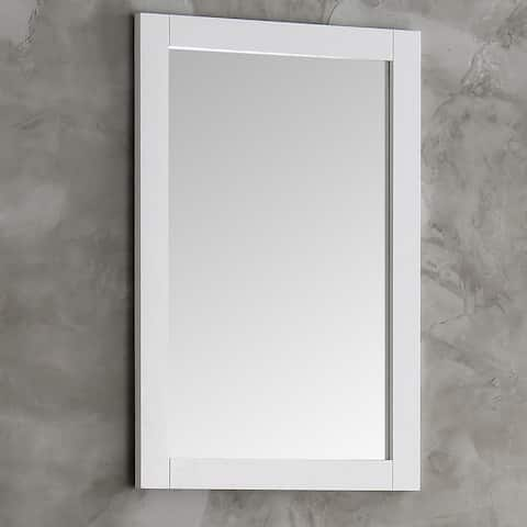 Fresca Hartford White Wood 20-inch Traditional Bathroom Mirror