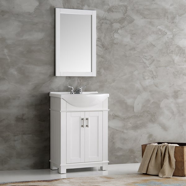 Amazing  White 24inch Bath Vanity With 2 Doors Bottom Drawer And White Quartz