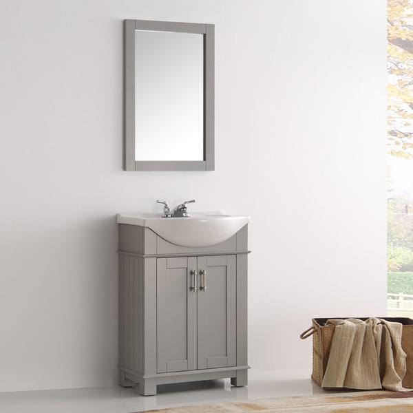 Shop Fresca Hartford Grey Wood Inch SingleSink Bathroom Vanity - 24 inch gray bathroom vanity