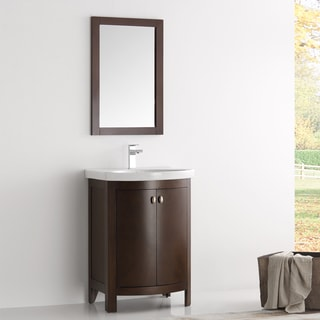 Fresca Greenwich Brown Wood/Veneer 24-inch Antique Traditional Bathroom Vanity