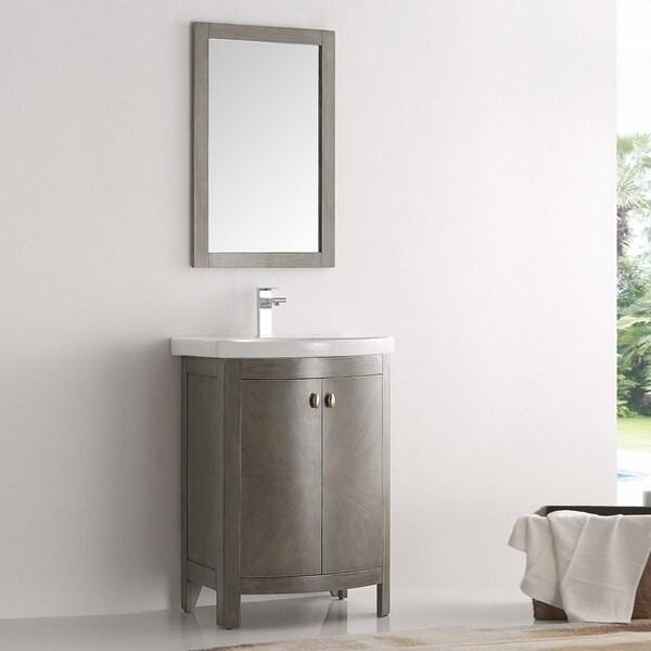 Fresca Greenwich Antique Silver Wood 24 Inch Single Sink Bathroom Vanity