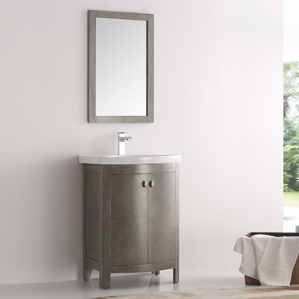 Fresca Greenwich Antique-silver Wood 24-inch Single-sink Bathroom ...