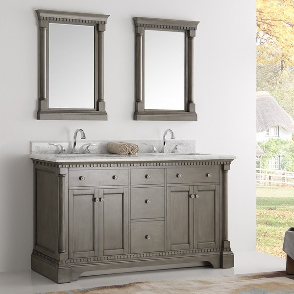 Shop fresca kingston silver double sink traditional 60 inch mirrored bathroom vanity free for 70 inch double bathroom vanity