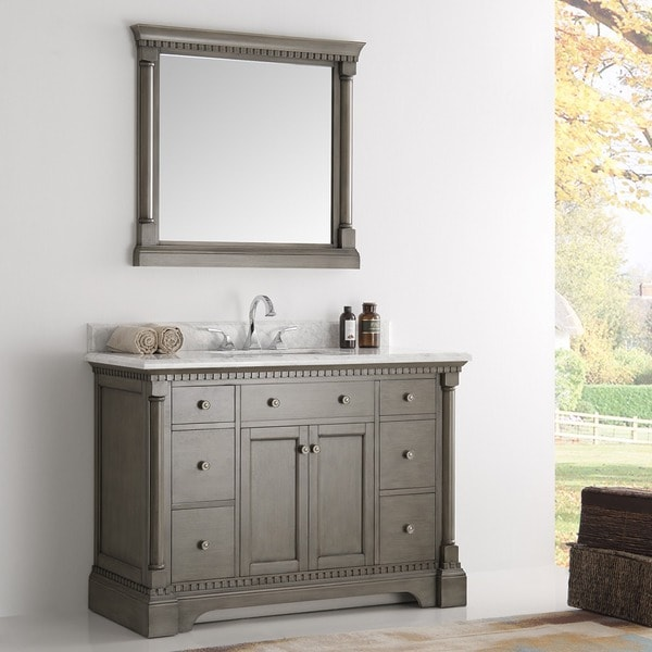 Beautiful Fresca Kingston Antique Silver 48 Inch Traditional Bathroom Vanity With  Mirror