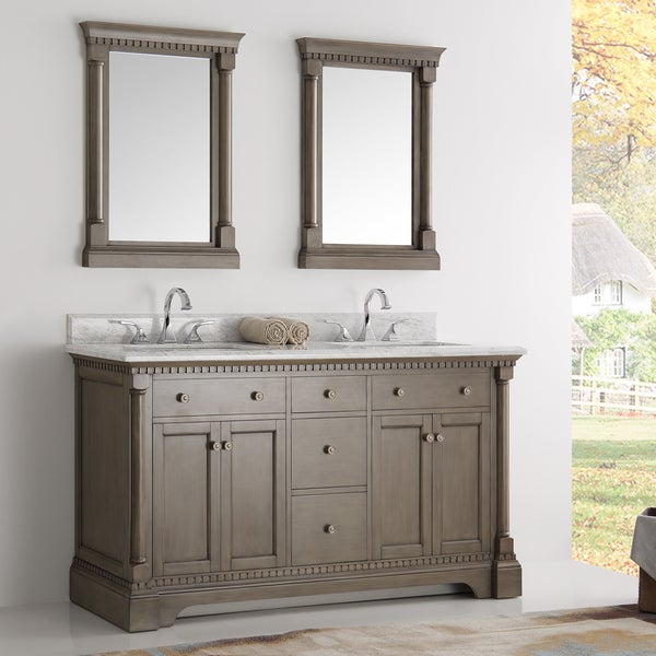 Shop fresca kingston antique coffee 60 inch double sink - Discount bathroom vanity and sink combo ...