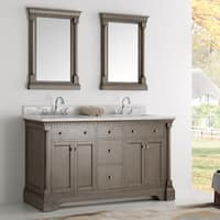 Fresca Kingston Antique Coffee 60-inch Double-Sink Bathroom Vanity with Mirrors and Faucets